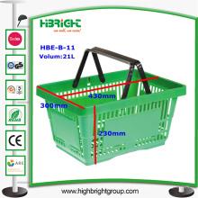 Cesta de compras verde del supermercado 28L