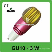 CE et ROHS 3w AC 85v-265v RVB gu10 éclairage spot, 3 ans de garantie