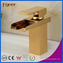 Fyeer New Golden Water Tap Waterfall Brass Basin Faucet
