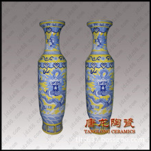 yellow glaze dragon vase porcelain
