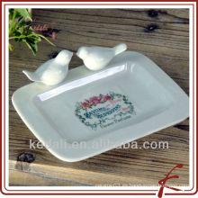 Plato de jabón de gres con aves