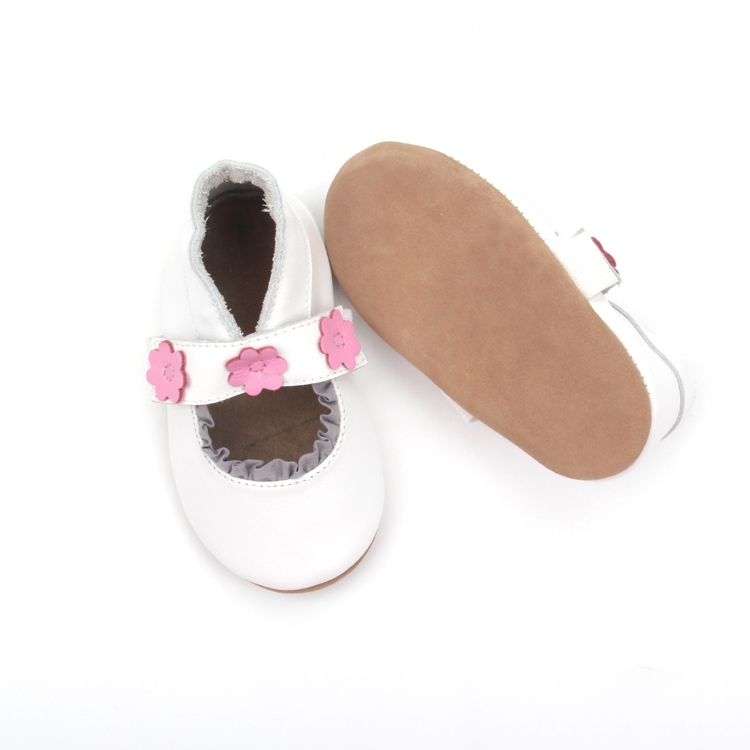 2018 Fancy White Flower Leather Baby Dress Shoes