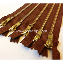 Brass No. 13 Brown Zipper for Bag