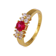 Fashion Jewelry Women CZ Zircon Ring with 14k Gold Plated