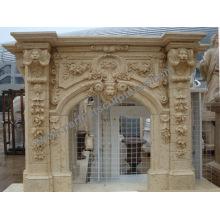 Mantel de mármol tallado de la chimenea de la piedra para la decoración casera (QY-LS384)