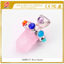 Natural Rose Quartz Six Pyramid Column Gemstone Pendant 14SP0172 with Seven Chakra stones on Silver Alloy for women jewelry
