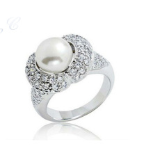 Bague perle en or blanc