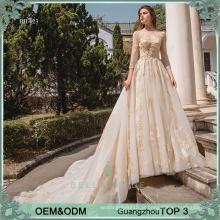 Pesado, decote, vestido, catedral, trem, vestido de noiva, vestido de noiva