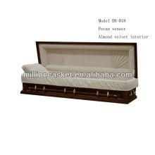 funeral de sofá cheio de caixão de folheado de madeira de noz-pecã fornece vendas por atacado