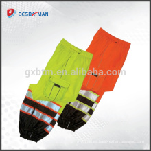 Hi Vis Safety Reflective Work Cool Pants Pantalones, Orange Yellow Pants 2 bandas reflectantes EN471 con bolsillos