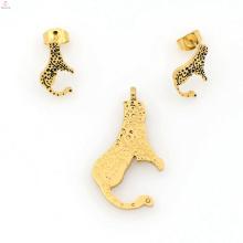 Belo novo aço inoxidável banhado a ouro conjunto de jóias por atacado