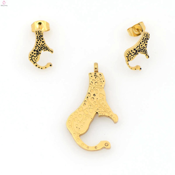 Beautiful new stainless steel gold plated jewelry set wholesale
