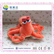 Brinquedo de pelúcia do polvo de laranja dos animais marinhos dos desenhos animados