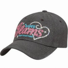 Baseball Cap with Sequin Embroidery in Front, Made of 100% Cotton Twill
