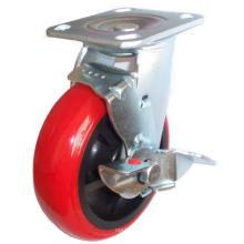 EH07 Swivel PU Caster with Side Brake (Bright Red)