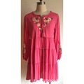 Women Viscose Wrinkled Dress with Embroidery