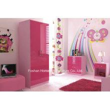 Ottawa Pink High Gloss 3 peças conjunto de móveis de quarto para crianças (HF-HH27PK)