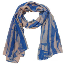 Lady Fashion Printed Polyester Voile Silk Scarf (YKY4220)
