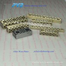 2960.72 Almohadillas deslizantes Dimensiones pequeñas, bronce con lubricante no líquido