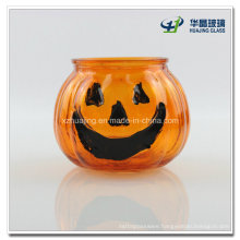 Pumpkin Shape Halloween Tea Light Glass Candle Holder