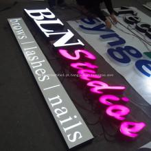 Loja, frente, sinal conduzido, negócio, signage