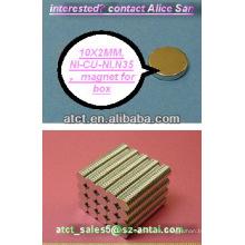Sinterizado de disco de neodimio imanes N35 10x2mm, magnetizador, imán permanente, imán de monopolo