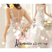 Nuevo modelo barato de la boda de marfil elegante vestido de novia 2017