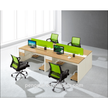 Green partition 4 person staff desk
