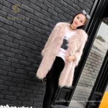 Excelente proveedor de moda de abrigo de piel de mapache