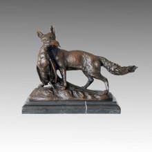 Animal Statue Fox Hunting Chicken Bronze Sculpture, E. Trvffot Tpal-168