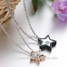 2016 New design love jewelry rose gold and black stainless steel stars valentines necklace