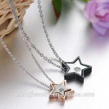 2016 Nouveau design amour bijoux rose or et noir étoiles en acier inoxydable Saint Valentin collier