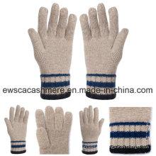 Gants Pashmina d'hiver à cinq doigts avec rayures