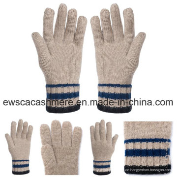 Fünf-Finger Winter Pashmina Handschuhe mit Streifen