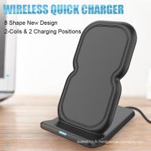 Vente chaude Qi Standard qi chargeur sans fil affichage téléphone stand dock pad debout recharge sans fil pour iPhone 8 samsung S8