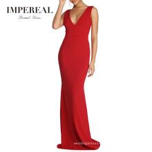 Plunging V Neckline Strap Connect V Back Royal Evening Ethnic Hot Red Dinner Dress