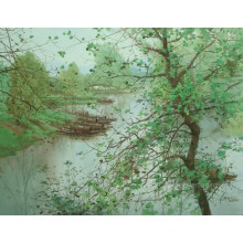 Arte da lona Pinturas da paisagem da vila para o repouso (ESL-098)