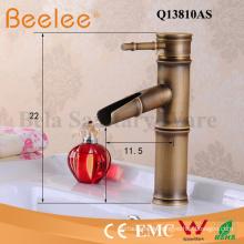 Antik Kupfer Wasserhahn gebürstet Bambus Form einzigen Griff Badezimmer Becken Mischbatterie