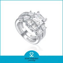 Anillo de imitación de diamantes de plata de ley (SH-R0179)