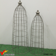 Set 2 Tall Rustic Grau Metall Wire Mesh Dome für Pflanzer