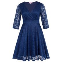 Hanna Nikole Femmes À Trois-Longueur Manche V-Neck Navy Lace Plus Size Robe HN0022-3