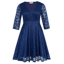 Hanna Nikole Womens Three Quarter Length Sleeve V-Neck Navy Lace Plus Size Dress HN0022-3
