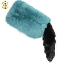 Luxury 100% Real Fox Fur Scarf With Tail Fox Fur Trim and Fur Tail Cape Shawl