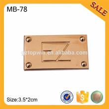 MB78 Accessoires en métal pour étui en cuir en cuir, types de logo en alliage de zinc en gros
