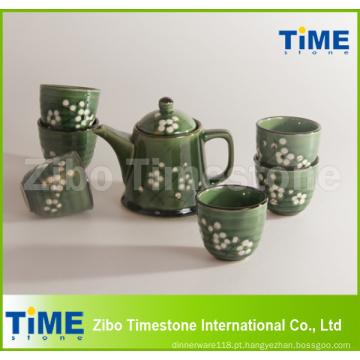 Preço do conjunto de chá Grace Korea em grés cerâmico pintado à mão