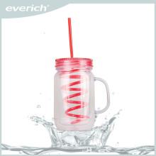 Novo frasco plástico reutilizável de suco de frutas com palha