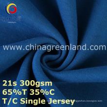 Tela hecha punto poliéster del jersey del algodón T65 / C35 para la camisa de la ropa (GLLML387)