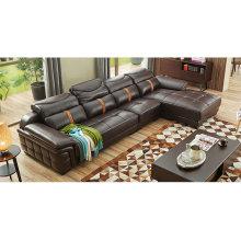 Sofá de cuero de Color marrón oscuro, muebles para el hogar de apoyo para la cabeza ajustable (M221)
