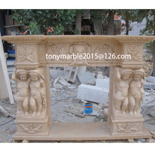 Surface Child Carved Beige Marble Fireplace (SY-MF012)