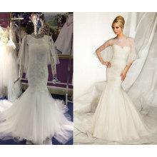 Труба свадебное платье с шалью